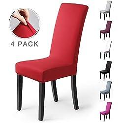 coprisedie con schienale 4 pezzi Elasticizzato Copertura della sedia bi-elastico per una misura universale, Coppia spandex Coprisedia molto facile da pulire e di lunga durata (Confezione da 4, Rosso)