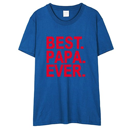 Honghu Uomo Best Papa Ever Fathers Day Gifts Cotone With Saying T-Shirt Maglietta Blu&Rosso