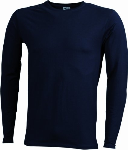 James & Nicholson Herren Langarmshirt Blau (Navy)