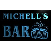 Cartel Luminoso w011957-b MICHELL Name Home Bar Pub Beer Mugs Cheers Neon Light Sign