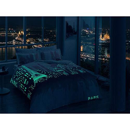 TAC Bettwäsche-Set aus 100% Baumwollsatin, für Doppel- und Queen-Size-Betten, Motiv Paris City - City Queen-bett