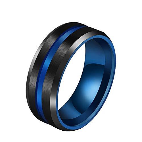 Msyq ringgrooved ring black blue light acciaio inossidabile anello uomo glamour uomo gioielli 6 blu