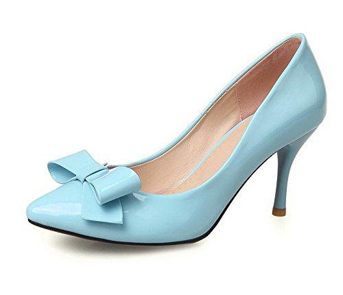 AllhqFashion Damen Lackleder Ziehen Auf Spitz Zehe Hoher Absatz Rein Pumps Schuhe, Himmelblau, 37