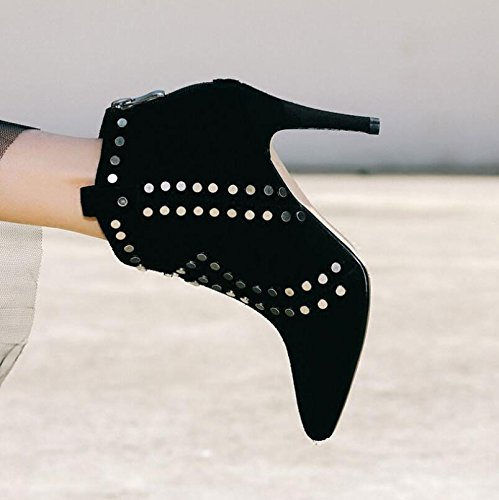 DHiver Pointe Démarre KHSKX Rivets Et Faux LAutomne Nouvelles Heeled Bottes Chaussures High Cuir Avec Nue 38 Mat Unique En Femmes Correctement nE0rvf0Pwq