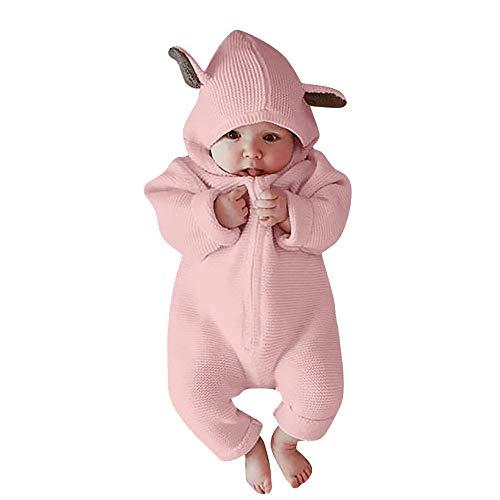 BeautyTop Baby Langarm Cute Overall Baby Unisex Herbst und Winter Strampler Baby Mädchen Jungen Outfit mit Hasenohren Kinderkleidung Set für Winter