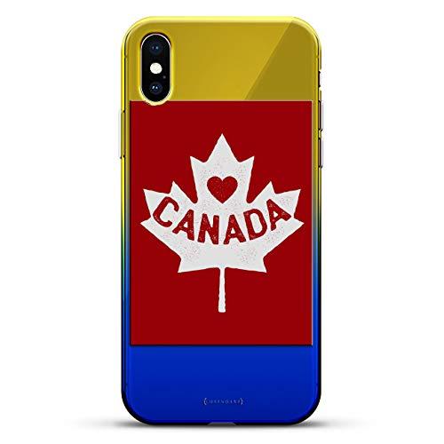 Luxendary Designer-Schutzhülle für iPhone XS/X, 3D-Druck, modisch, hochwertig, Chamäleon-Effekt, Farbwechsel-Effekt, klein, weißes Baseball-Muster, Flaggen: Kanadische Flagge, Blau (Dusk Blue) -