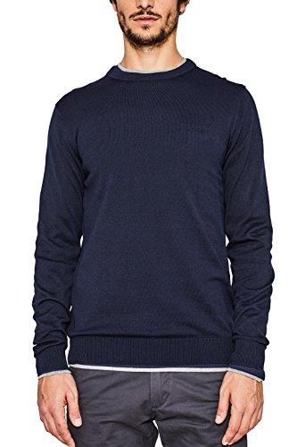 ESPRIT Herren Regular Fit Pullover 997EE2I800, Einfarbig, Gr. Medium, Blau (Navy 400)