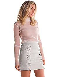 TOOGOO(R) Women's Autumn Fashion Lace Up Leather Suede Pencil Skirt Winter Casual Cross High Waist Skirt Zipper...