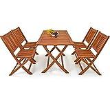 Deuba Conjunto de jardín 'Sydney Light' de madera de Acacia | Set de mesa y sillas - 5 piezas para 4 personas | Plegables