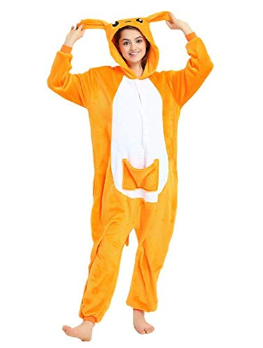 Warmes Unisex-Karnevals-Kostüm für Kinder, Einhorn Eule Zebra Giraffe Kuh, für Halloween Fest Party, als Pyjama, Tier-Kigurumi-Kostüm für Zoo-Cosplay, Einteiler - Small - Canguro Senza Peluche