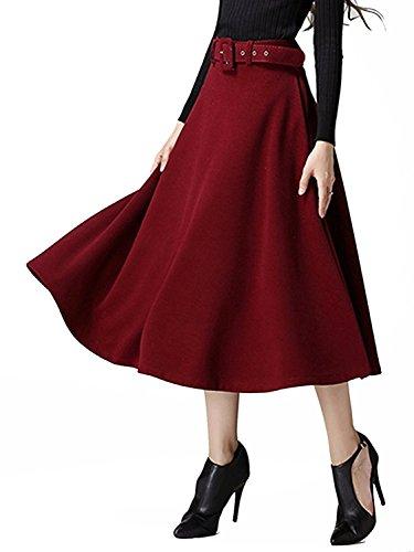 Choies Damen Winterrock Lang Faltenröcke mit Gürtel Vintage Hohe Taille Wollemischung A-Linie Rock Weinrot M