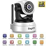 Bagotte FHD 1080P Telecamera Sorveglianza Wifi Interno, Videocamera IP Wireless Camera, Visione Notturna a Infrarossi, Audio Bidirezionale, Sensore di Movimento Pan/Tilt, Compatibile con iOS & Android