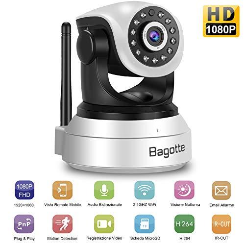 Telecamera wi-fi interno, bagotte fhd 1080p videocamera sorveglianza interno wifi con ptz, visione notturna, audio bidirezionale, notifiche in tempo reale, telecamera ip wireless per casa bambini cani