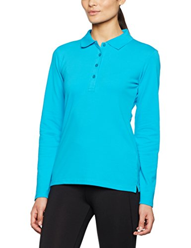 JAMES & NICHOLSON Elastic Long-Sleeved, Polo Femme Turquoise