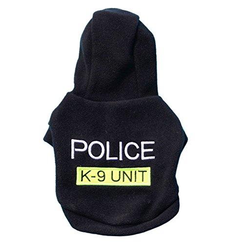 Hawkimin Haustier Kapuzenpullover Police Vlies Mit Kapuze Rundhals Stilvolles Bequem Kleiner Hund Teddy Sportswear Hunde T-Shirt Pullover