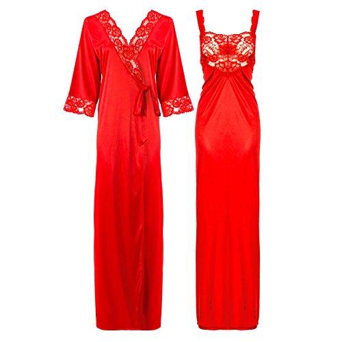 The Orange tags, camicia da notte di raso e pizzo lunga da donna, dettagliata 38-50 Red