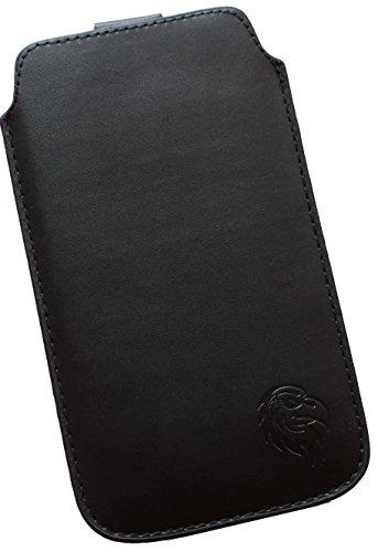 Schutz-Tasche mit Adler für Apple iPhone 5, 5C und 5S mit Hülle, Pull-tab Handy-Huelle herausziehbar, Etui genaeht mit Rausziehband, duennes Cover mit exklusivem Motiv Adler ML Schwarz