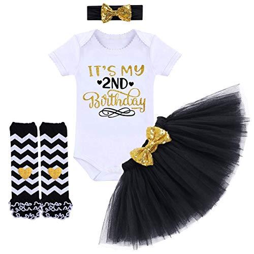 TTYAOVO Neugeborene Mädchen Es ist Mein 1. / 2. Geburtstag 4 Stück Outfits mit Romper+Tutu Kleid + Stirnband+ Leggings 2 Jahre Schwarz(2 Jahre) -