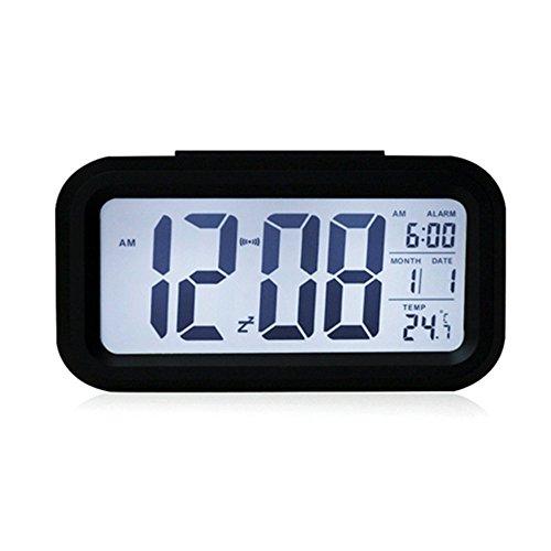 VIKEN Digitaluhr mit Nachtsensor und Beleuchtung Digitalwecker Reisewecker Schwarz