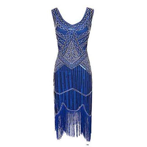 MIJIN Frauen Flapper Kleider, 1920er Jahre V-Ausschnitt Partykleid Pailletten Perlen Quasten Saum Flapper Kleid,C,M (Flapper Jahren 1920er Kleider)