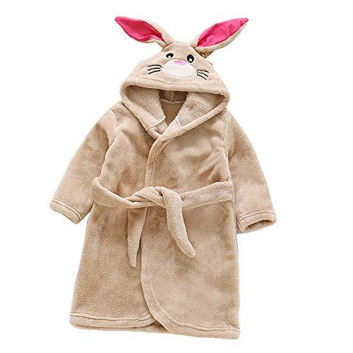 DINGTAIMEI Kinder Vermummte Flanell Plüsch Bademäntel Winter Kaninchen Gewand Pyjama Nachtwäsche für 3-8-Jährige Jungen und Mädchen (4 Years, Rabbit Blue) -