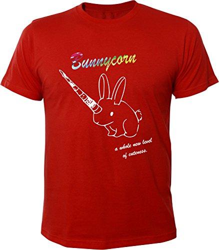 Mister Merchandise Herren Men T-Shirt Bunnycorn Tee Shirt bedruckt Rot