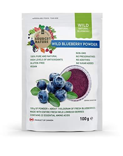 Polvo de arándanos salvajes (100 g), 100% fruta entera, sin extracto, sin...
