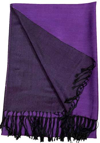 CJ Apparel Púrpura y Negro Diseño Sólido Color Chal Pashmina Abrigo de la Bufanda de la Estola NUEVO