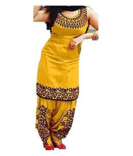 V.K.Creation Women's Cotton Salwar Suit (Yellow Salwar Suit_Yellow_Free Size)