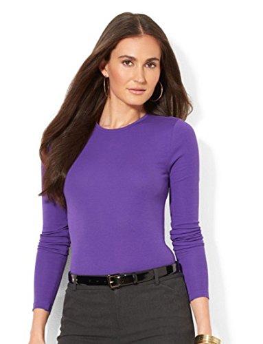 Top da donna girocollo a manica lunga, cotone tinta unita qualità - attraenti colori (Ref: 2215) Purple