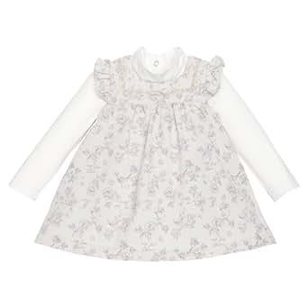 Chicco - ensemble 2 pièces body de robe chasuble - bébé fille - beige - 9 mois