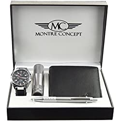 montre-concept Man with Torch, Wallet and Watch Gift Set Pen clpa765-noir-noir Reference
