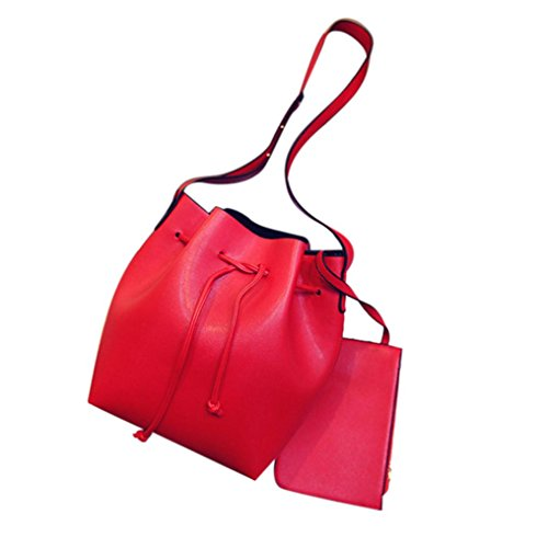 Transer Women Shoulder Bag Popular Girls Hand Bag Ladies Leather Handbag, Borsa a spalla donna Pink 22cm(L)*27(H)*11cm(W) Red