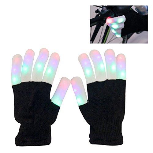Aomeiqi leuchtende Handschuhe, LED blinkende bunte Finger Gloves, Coole Spielzeuge Handschuhe mit LED, lustige Handschuhe als Geschenke zu Weihnachten Geburtstag und Karneval für Kinder Mädchen Junge, leuchende Handschue Finger Spielzeuge als Hingucker auf jeder Party, Weiß/Schwarz (Kostüme Leute Für Kleine)