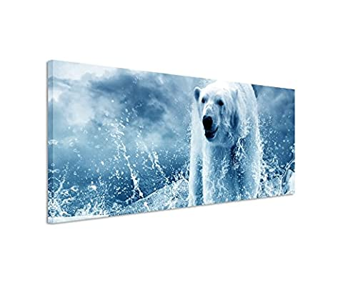 150x 50cm Wall Picture Blue Teal Panorama Wall Picture on Real Canvas with a high quality polar bear on ice water drops