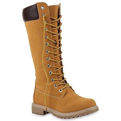 Schnürstiefel Profil Sohle Block Absatz Stiefel Leder-Optik Schuhe 124859 Hellbraun Bexhill 37 Flandell