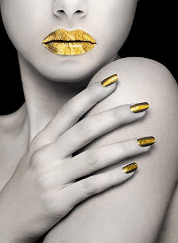 Queence   Acrylglasbild mit Blattgold   Wandbild Glasbild Acrylbild Rahmenlos   Goldenes Model   Druck auf Acrylglas   Goldveredelung   Größe: 40x60 cm