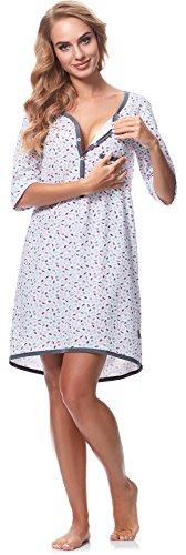 Be Mammy Damen Stillnachthemd BE20-176 Blätter-rosa