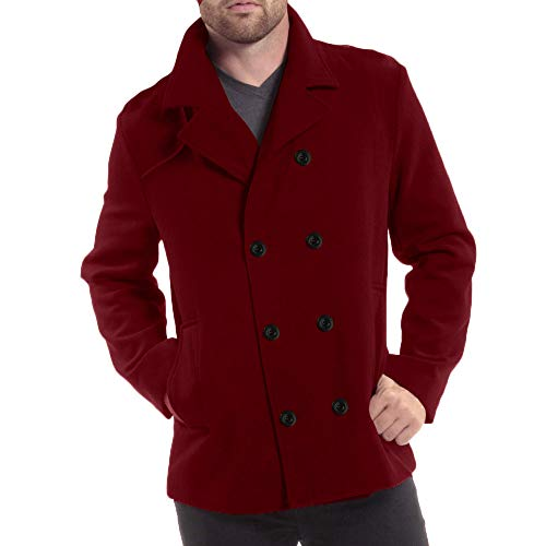 KPILP Männer Jacke warme Oberteile Winterjacke Trench Long Windbreaker Outwear Button Smart Mantel Winter ()