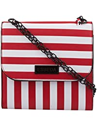 ESBEDA Red & White Striped PU Synthetic Slingbag For Women
