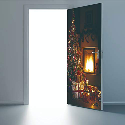 swsongx 3D Türaufkleber Kinderzimmer Christmas Door Stickers Mural Poster Santa Christmas Tree Pattern Durable PVC Waterproof Door Sticker Xmas 77x200cm -