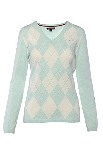 Tommy Hilfiger Damen Pullover, Women's Argyle Sweater, Medium (V-neck Womens Argyle Pullover)
