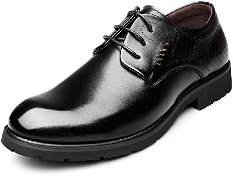 Ruiyue Leder Oxford Schuhe Männer  Klassische Echtleder Schnürsenkel Fisch Skala Dekoration Breathable Business