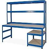 BRB Arbeitstisch/Packtisch, 1800 x 1800 x 600 mm, Arbeitshöhe 750/1050 mm, Unterbau HxBxT 520 x 600 x 600 mm