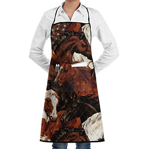 Drempad Premium Unisex Schürzen, Brown White Horse Head Apron for Kitchen Cooking/BBQ, Adjustable Bib Apron with - White Horse Head Kostüm