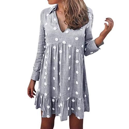 TPulling Damen Polka Dots Vintage Kleider Winter Rockabilly Kleid  V-Ausschnitt High Low Nachtkleid Still Sleepshirt Sleepwear mit Taschen (Florale Langarm-sleepshirt)
