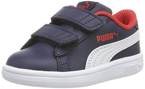 PUMA Smash v2 L V Inf, Zapatillas Unisex Niños, Peacoat White-High Risk Red, 27 EU