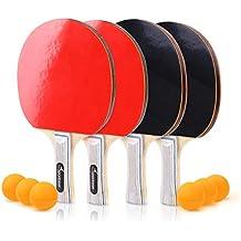 Sportneer Juego de Ping-Pong de Tenis de Mesa - Paquete 4 Raquetas/Palas Premium y 6 Pelotas de Tenis de Mesa - Caucho Esponjoso Suave - Ideal para Juegos ...