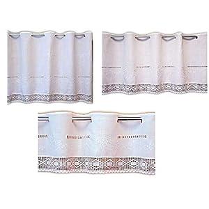 wunderschöne Bistrogardine 30×150 cm Scheibengardine Kurzgardine Gardine Weiß Ton in Ton bestickt tolle HÄKELSPITZE…