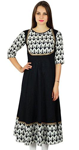 Bimba Frauen schwarz Anarkali kurta lange Maxi kurti 3/4 Ärmel indische ethnische Kleidung Schwarz